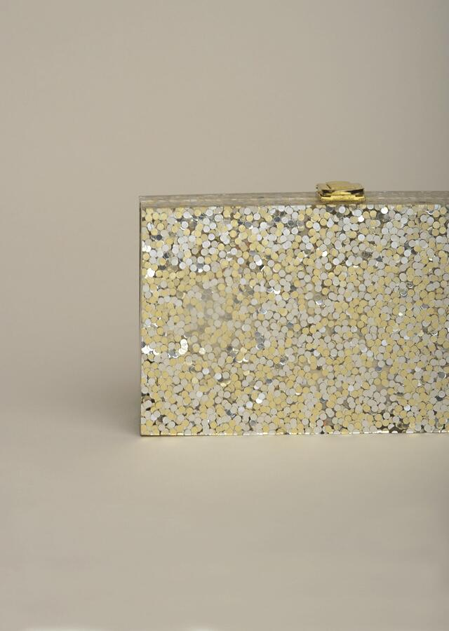 Metallic Box Clutch With Gold And Silver Shimmer Glitter All Over Online - Kalki Fashion