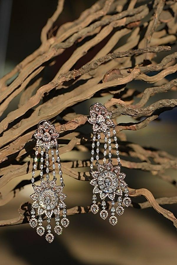 Silver And Rose Gold Plated Earrings With Crystals And Stone Studded Modern Floral Design Kohar By Kanika
