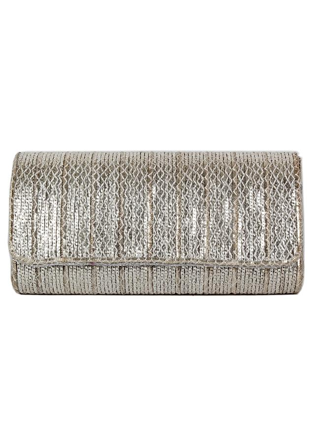 Silver Clutch With Chain And Thread Embellishment Online - Kalki Fashion