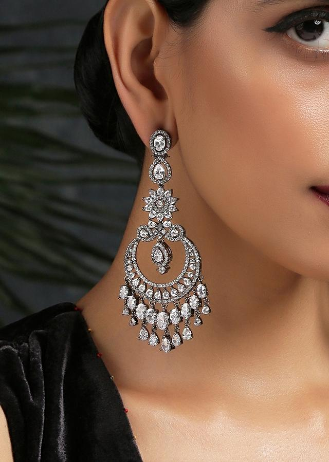 Silver Crescent Earrings With Faux Diamonds And Swarovski Crystals Studded In Floral Motifs By Paisley Pop