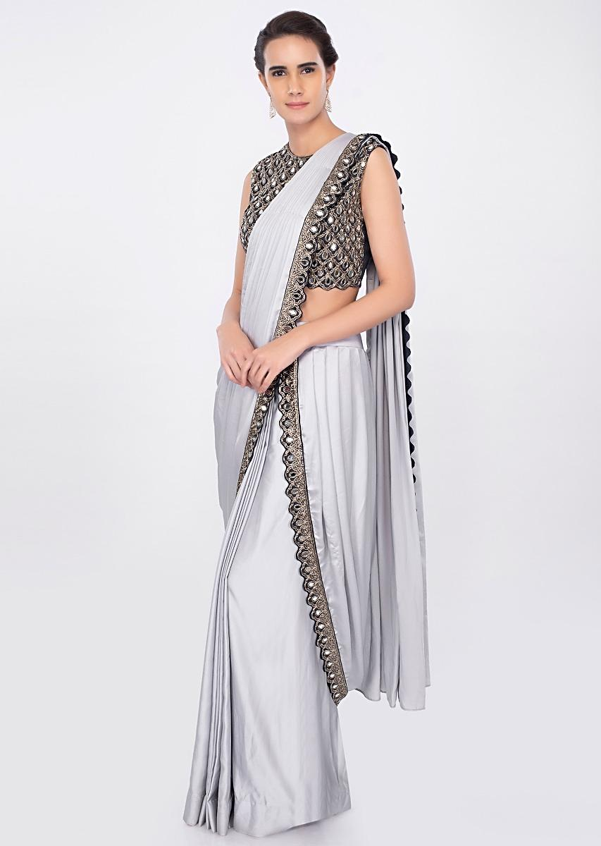 2b071268b2b60 Silver grey draped saree with indigo blue embroidered blouse only on kalki
