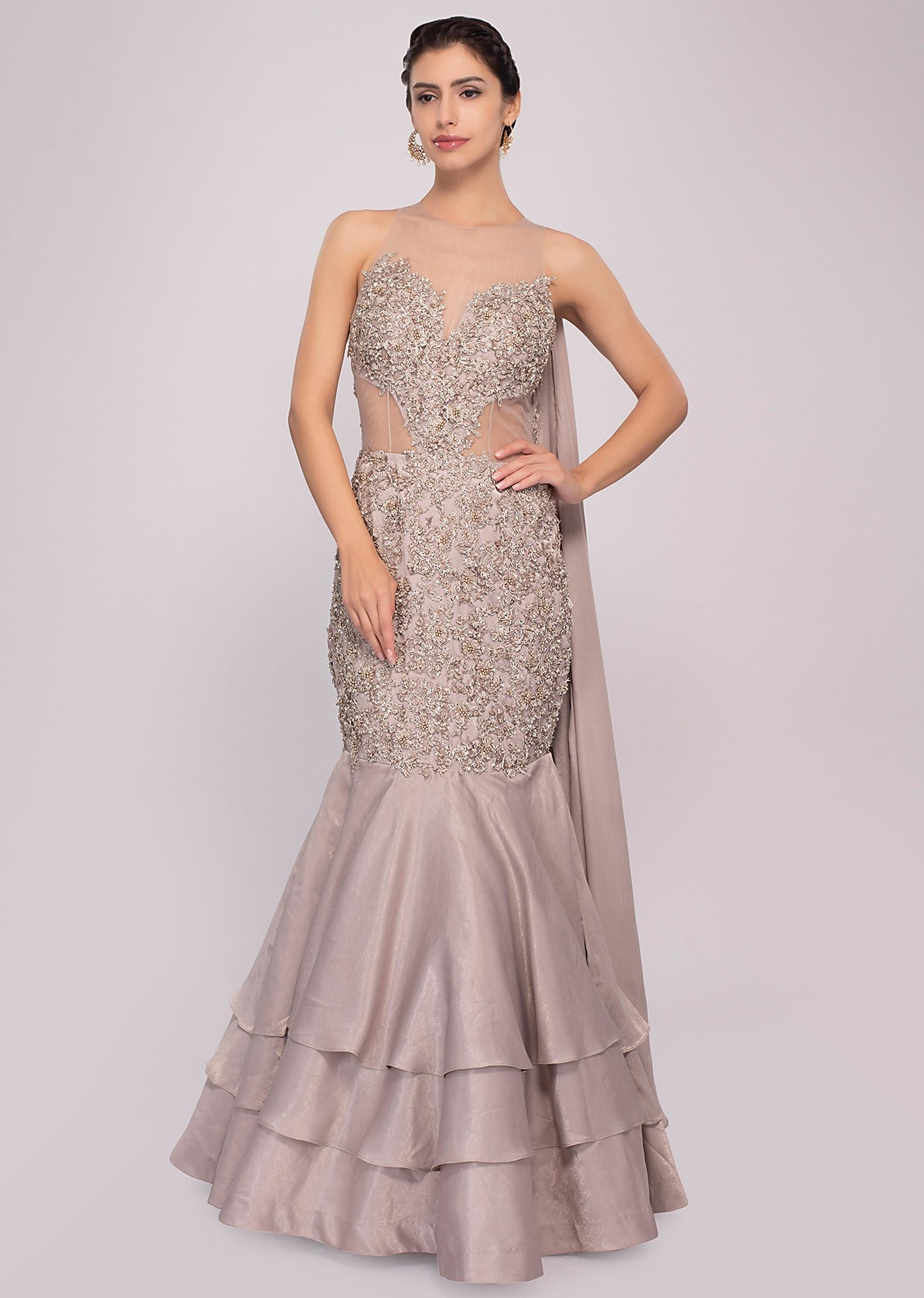 9eb1bf1bfc9 Silver grey fish cut satin net gown only on Kalki