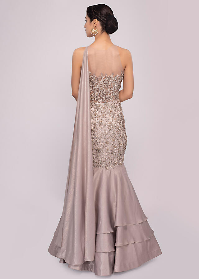 Silver grey fish cut satin net gown only on Kalki