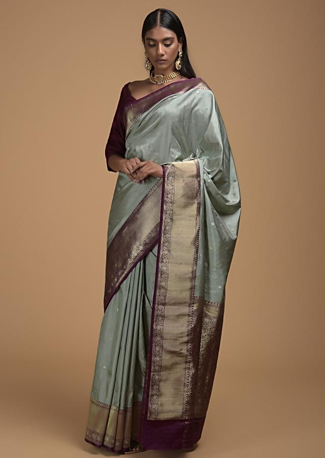 Silver Grey Saree In Pure Handloom Silk With Woven Floral Buttis And Purple Border Online - Kalki Fashion