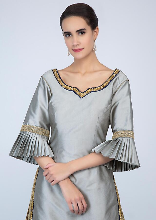 Silver Grey Sharara Suit In Satin Silk With Embroidered Edges Online - Kalki Fashion