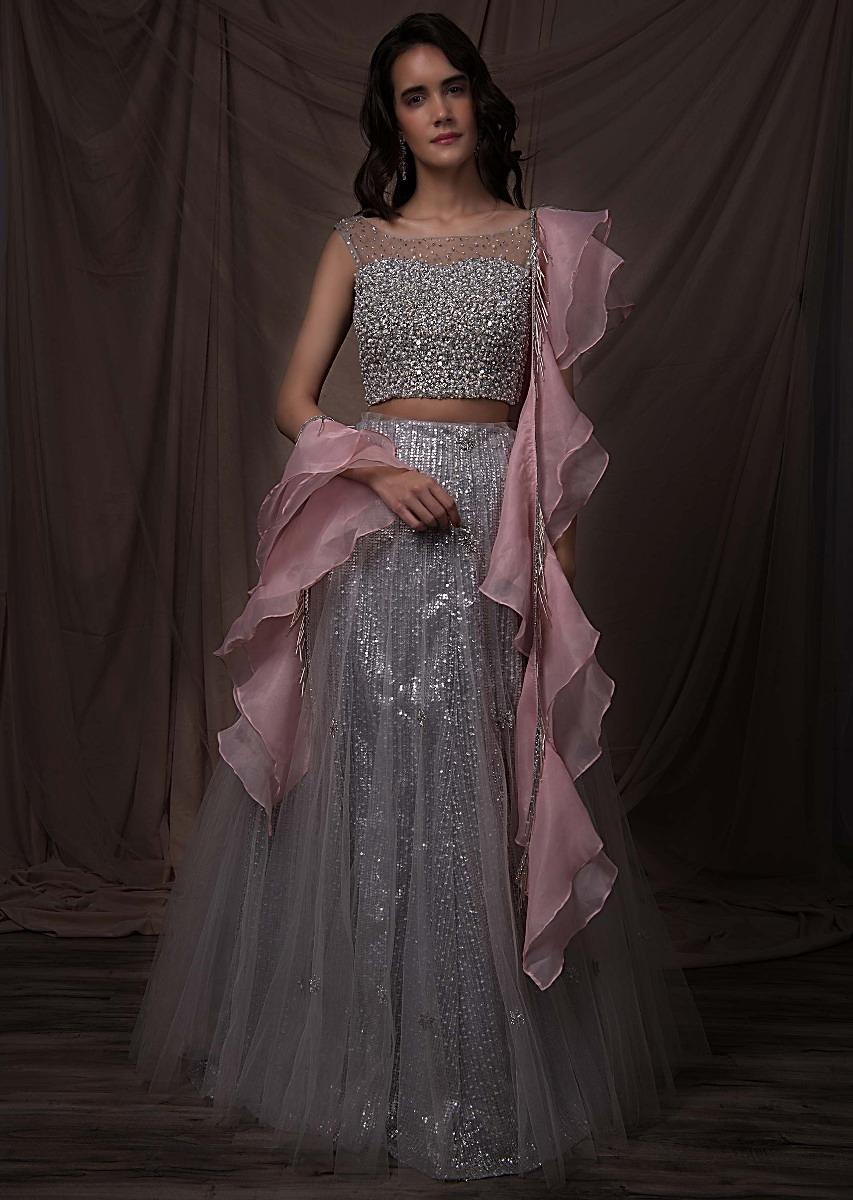 042f9ffc18 Silver grey sequins embroidered net lehenga set with pink organza ruffled  dupatta only on kalkiMore Detail