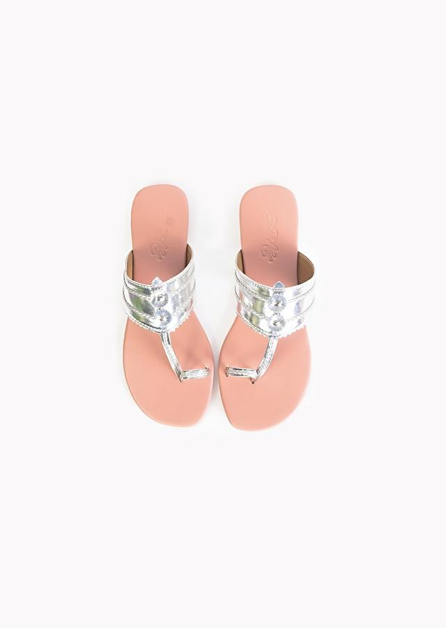 Silver Kolhapuri Flats With Nude Pink Sole  By Sole House