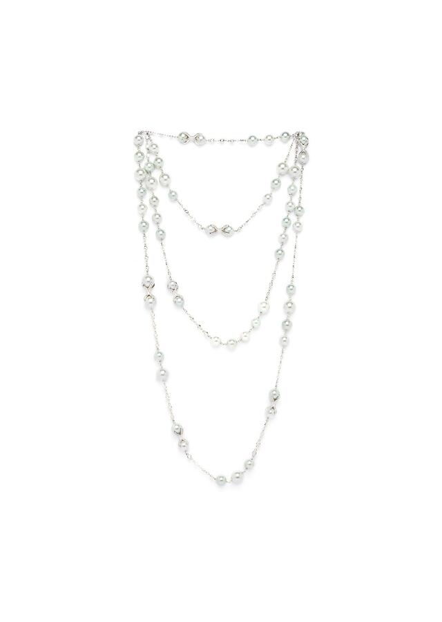 Silver Layered Necklace With Swarovski, Shell Pearls And Silver Beads Online - Joules By Radhika