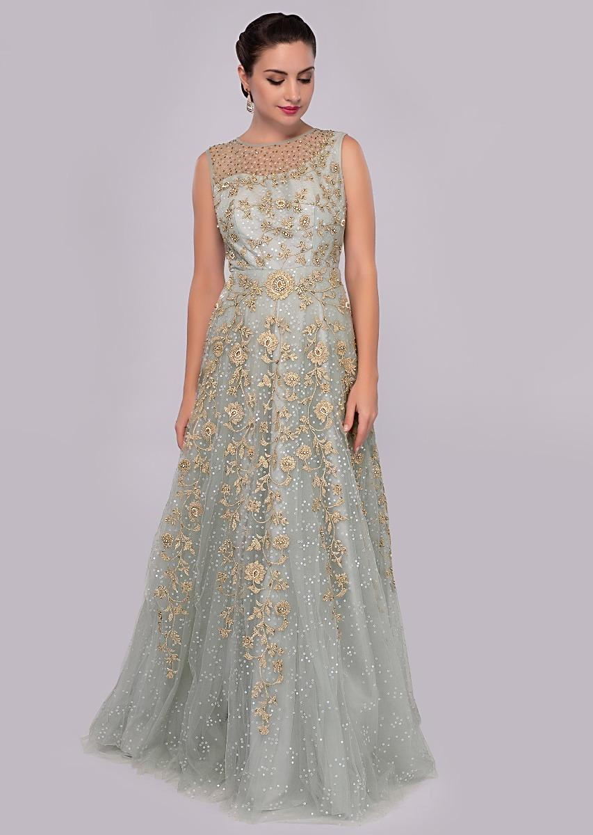 996284abd2 Silver mist grey net gown adorn in floral embroidery only on Kalki