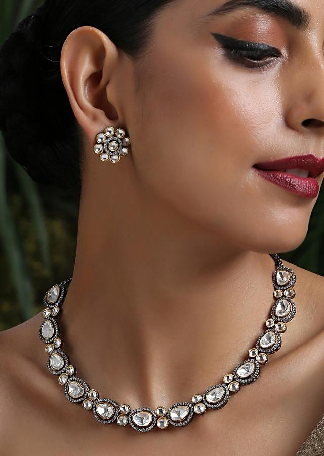 Silver Necklace Set With Victorian Inspired Polki And Cubic Zirconia Work Worthy Of A Fairytale By Paisley Pop