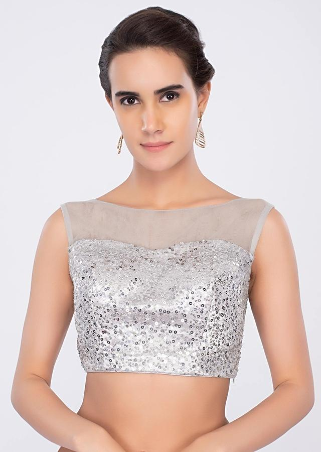 Silver Blouse In Sequins Embroidered Net Online - Kalki Fashion