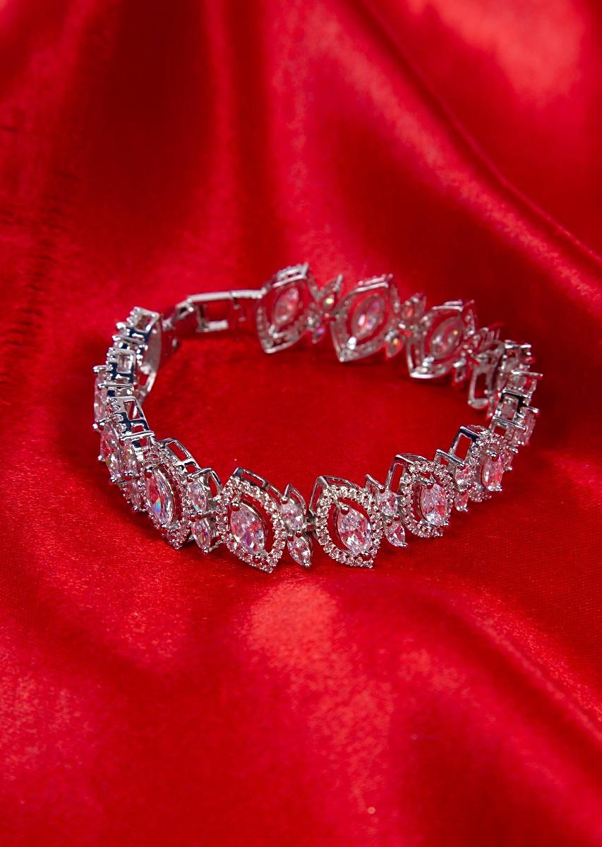 ecd26329e2cb1 Silver plated bracelet adorn with in marquise cut stone and crystal beads  only on kalki