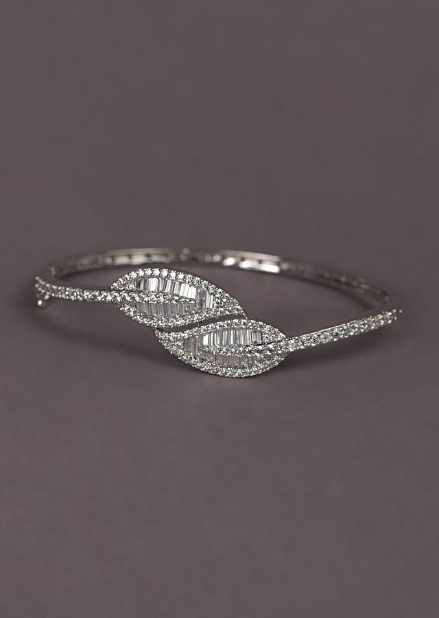 Silver Plated Bracelet With Stones And Bugle Beads In Leaf Motif Online - Kalki Fashion