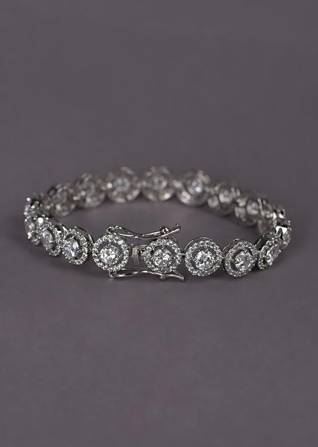 Silver Plated Bracelet With Stones In Concentric Round Design In Chain Pattern Online - Kalki Fashion