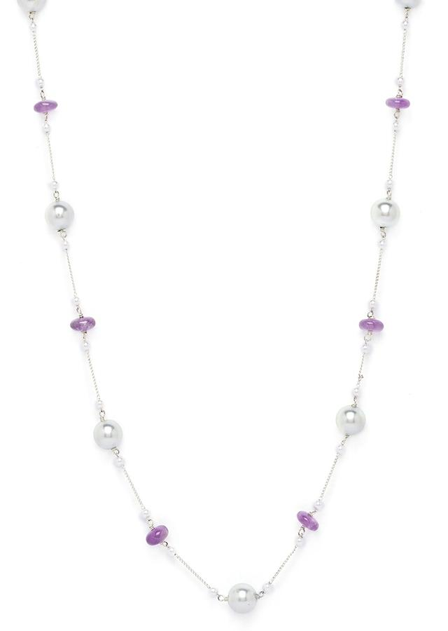 Silver Plated Chains Necklace With Amethyst And Shell Pearls Online - Joules By Radhika