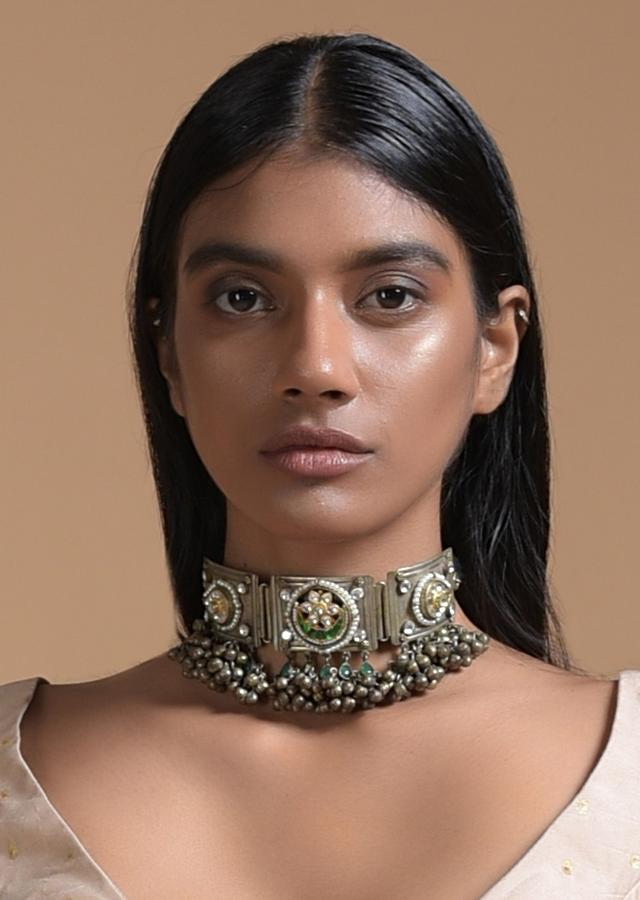Silver Plated Choker Necklace In Authentic Tribal Look With Carved Stones, Kundan And Pichwai Paintings By Kohar