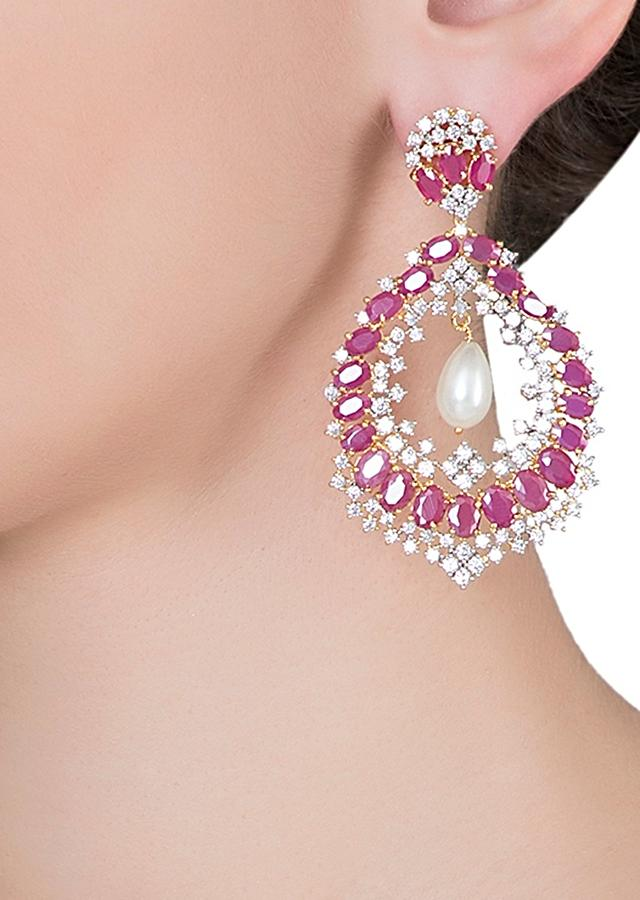 Silver Plated Dangler Earrings Studded With Faux Diamond And Ruby In Ethnic Design By Aster