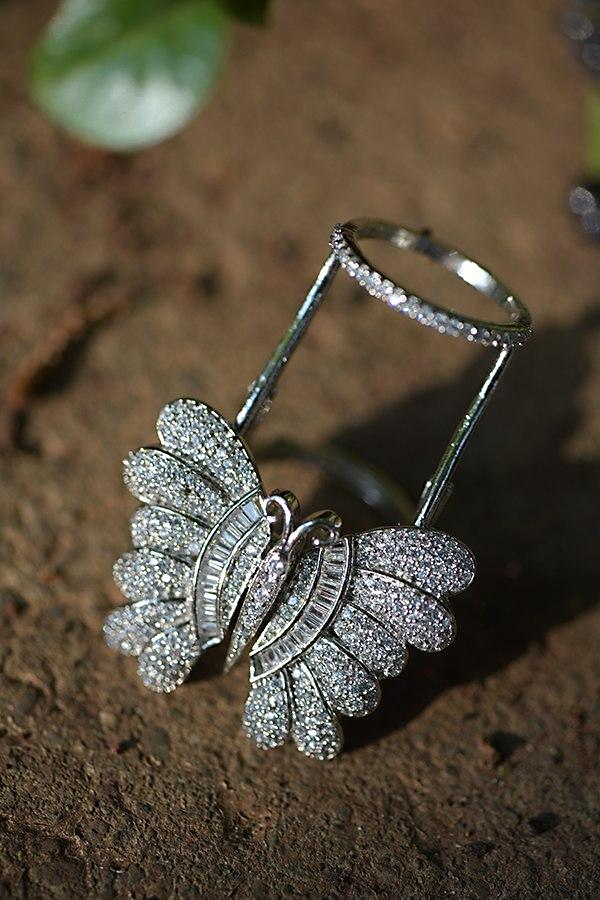 Silver Plated Double Ring  With Stones And Bugle Beads Studded Butterfly Motif Kohar By Kanika