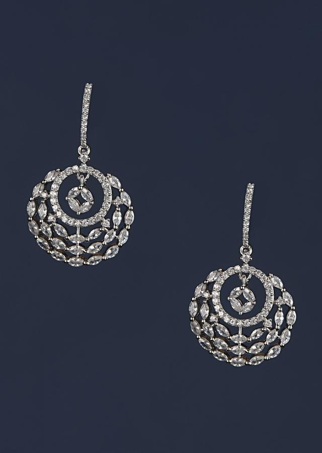 Silver Plated Earrings In Circular Motif Studded With Stones And Crystals Online - Kalki Fashion