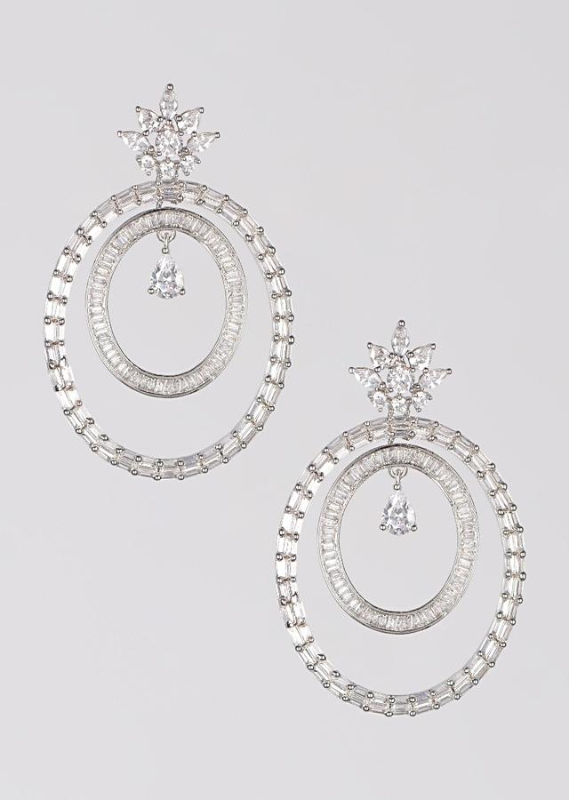 Silver Plated Earrings With Bugle Beads And Crystals In Dangling Oval Motifs Online - Kalki Fashion