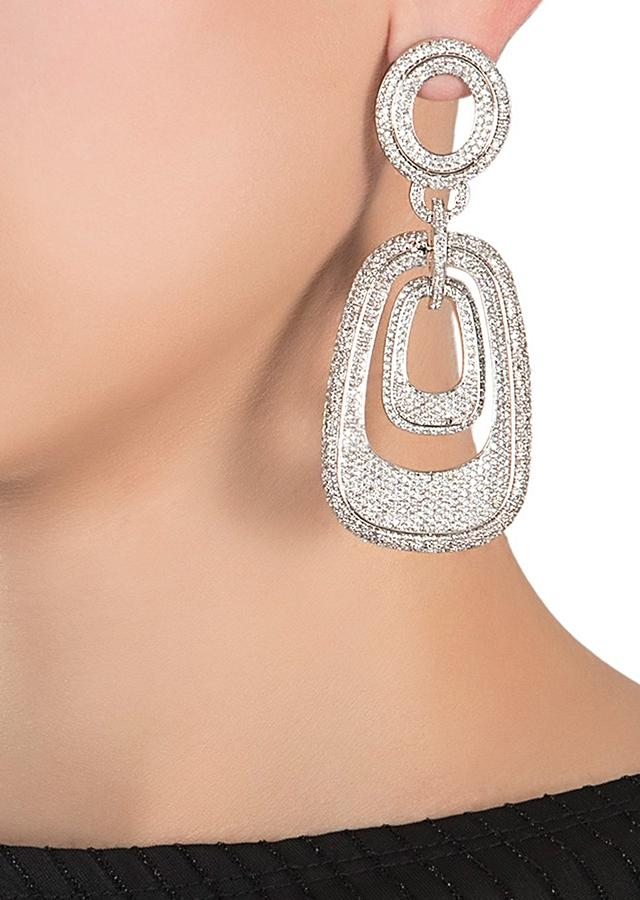 Silver Plated Earrings With Faux Diamonds In A Contemporary Linked Design By Aster