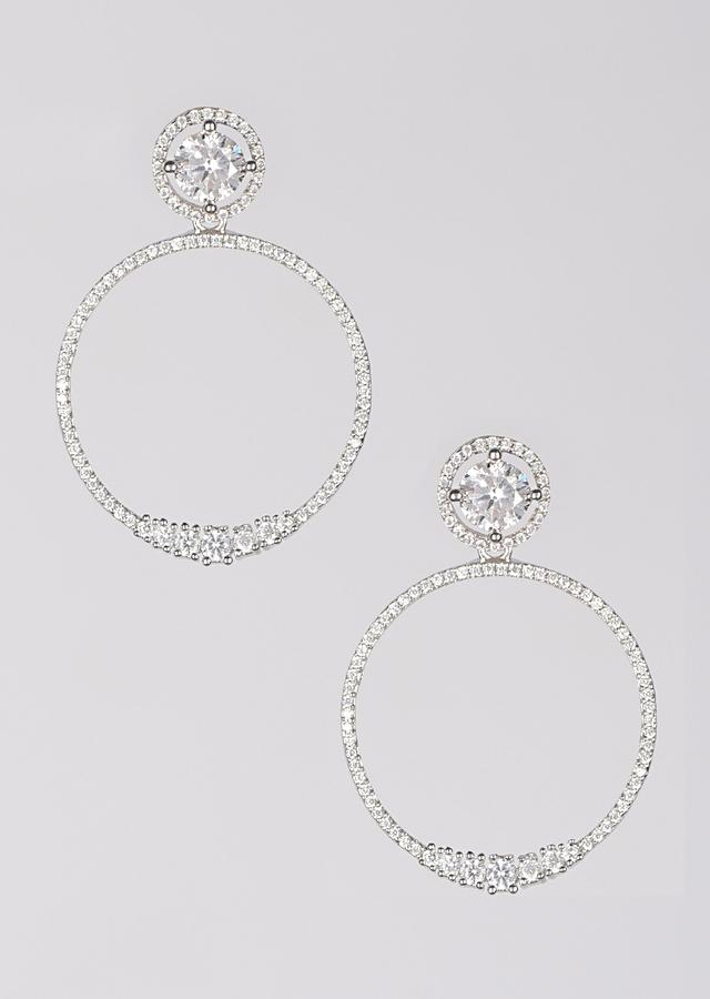 Silver Plated Earrings With Stones In Round Pattern Online - Kalki Fashion