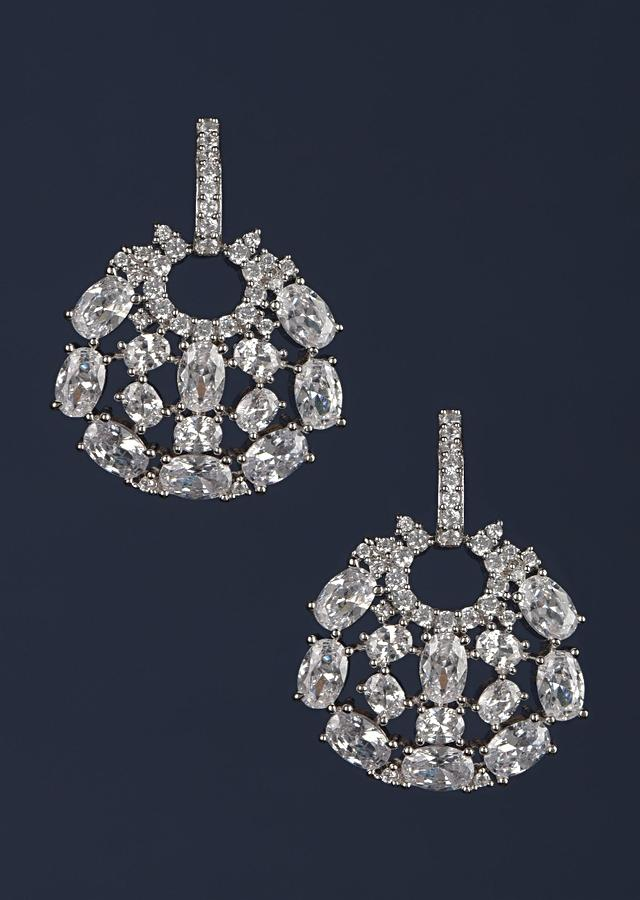Silver Plated Studs In Round Motif With Crystals And Stones Online - Kalki Fashion