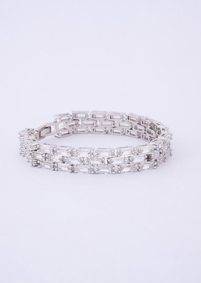 Silver plated triple layer bracelet with rectangular crystal bead only on Kalki
