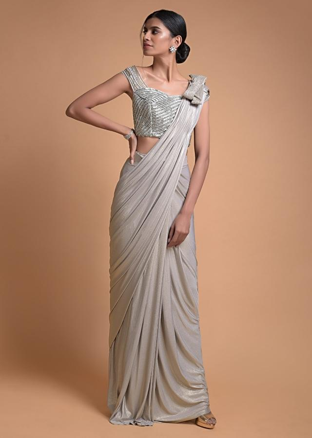 Silver Ready Pleated Saree In Shimmer Lycra With Bow Detail On The Shoulder Online - Kalki Fashion