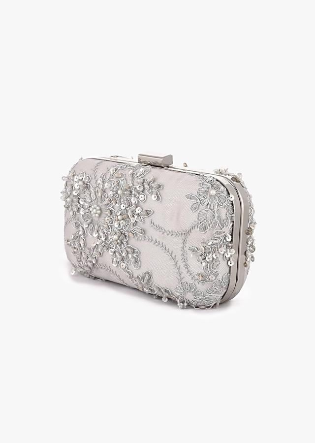 Silver Rounded Box Clutch With Embroidered Net Adorned In Sequins, Cut Dana And Zari In Floral Design  Online - Kalki Fashion