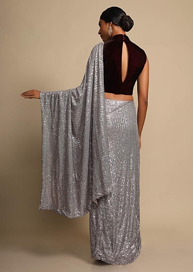 Lavender Grey Saree In Shimmer Sequins Fabric With Ready Stitched Peats Online - Kalki Fashion