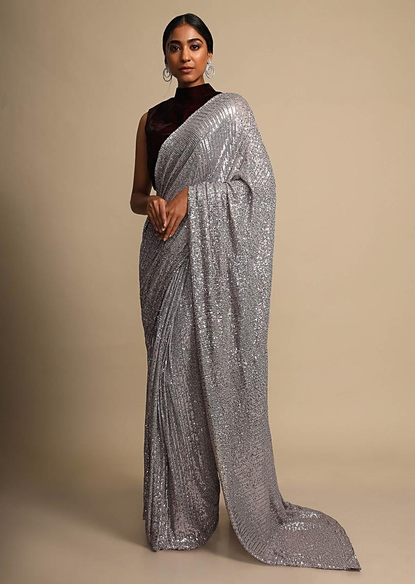 Lavender Grey Saree In Shimmer Sequins Fabric With Ready Stitched Peats Online