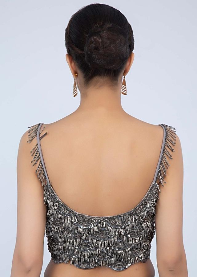 Silver Strap Blouse With Embroidered Scallop Pattern Online - Kalki Fashion
