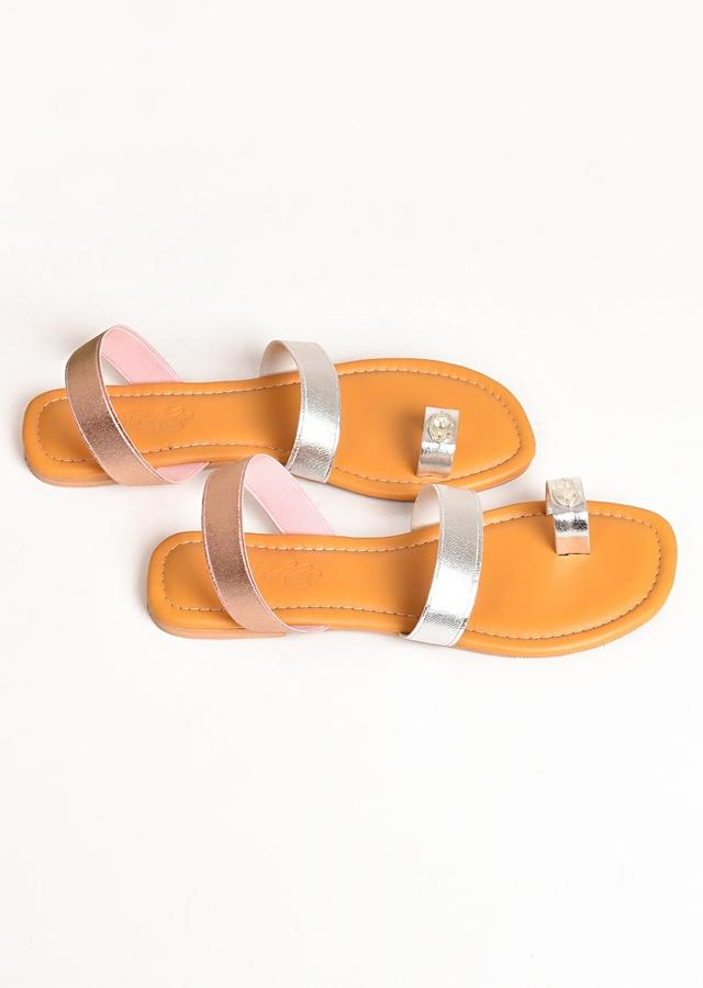 Silver Toe Flats With Stone Work And Rose Gold Ankle Strap By Sole House