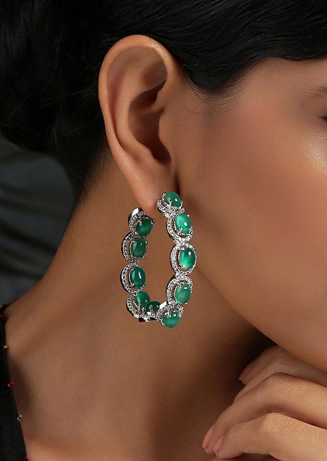 Silver Toned Hoop Earrings With Green Victorian Faux Diamond By Paisley Pop