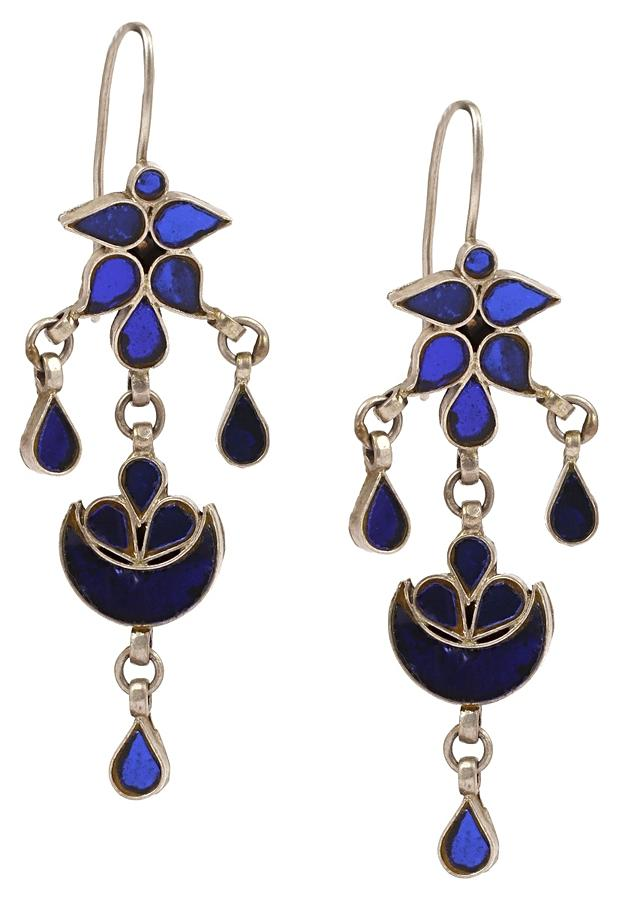 Silver Danglers With Navy Blue Glass Work In Floral Pattern Made In Sterling Silver By Sangeeta Boochra
