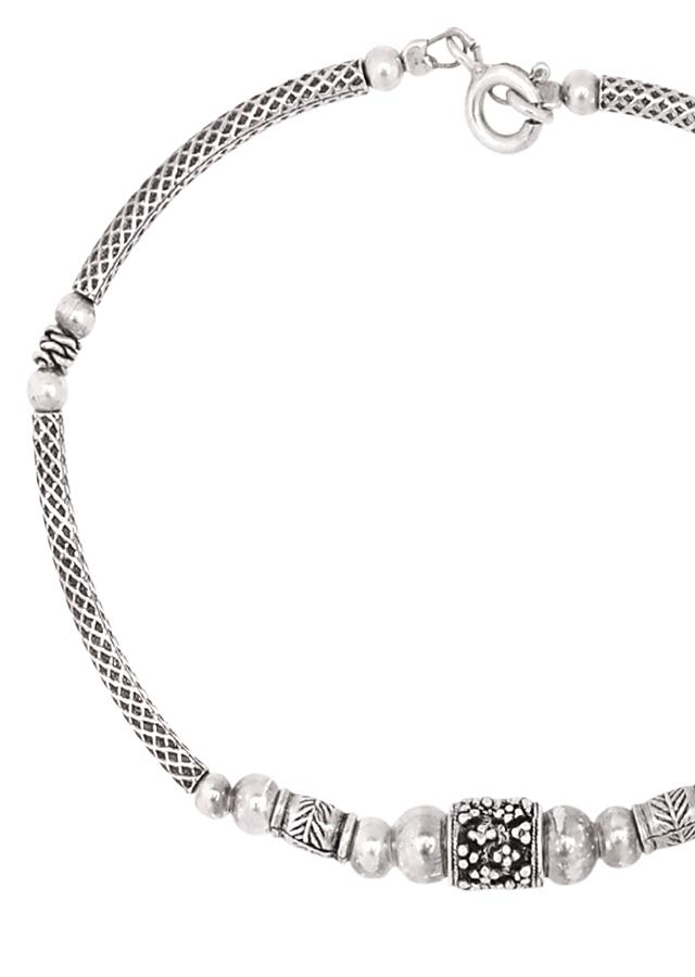 Silver Designer Hand Crafted Bracelet With Charm Bead Made In Sterling Silver By Sangeeta Boochra