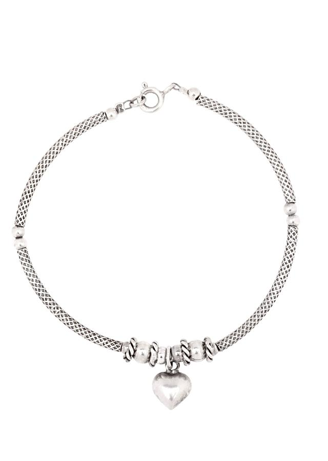 Silver Designer Hand Crafted Bracelet With Heart Charm Bead Made In Sterling Silver By Sangeeta Boochra