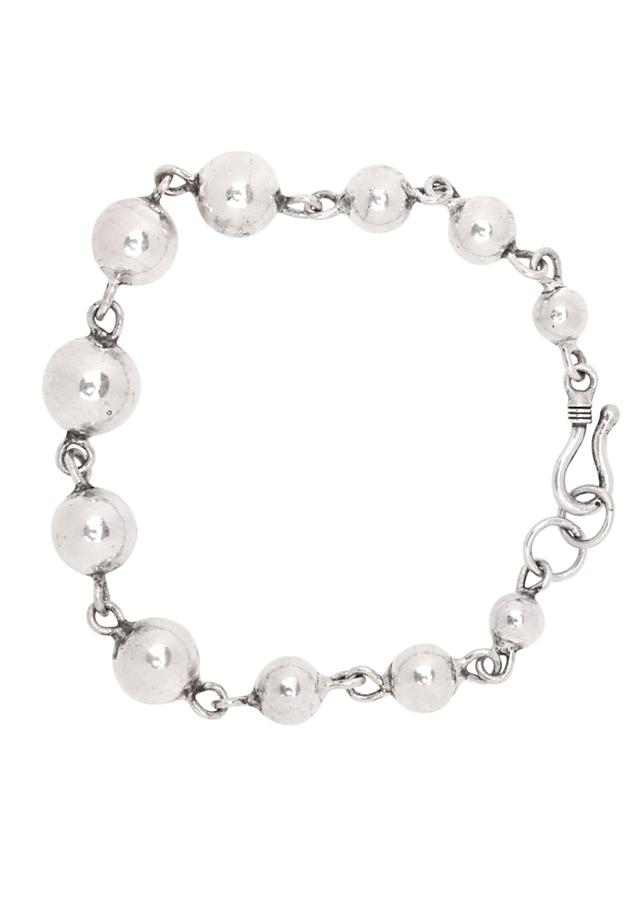 Silver Designer Hand Crafted Bracelet With Silver Beads Linked With Chain Made In Sterling Silver By Sangeeta Boochra