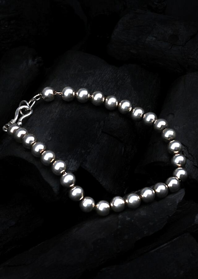Silver Designer Hand Crafted Bracelet With Silver Beads Made In Sterling Silver By Sangeeta Boochra