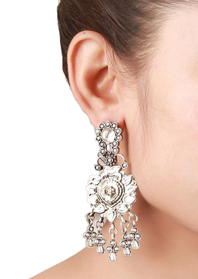 Silver Earrings Hand Crafted In Ethnic Design With Pearls Made In Sterling Silver By Sangeeta Boochra