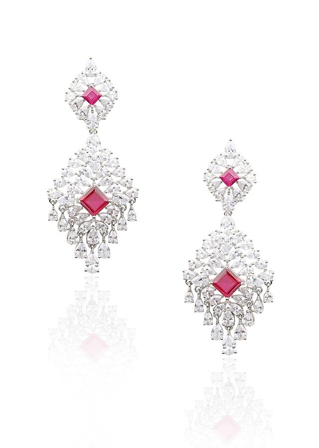 Silver Finish Earrings With White Diamonds And Red Zircon Stones In Cut Out Design By Aster