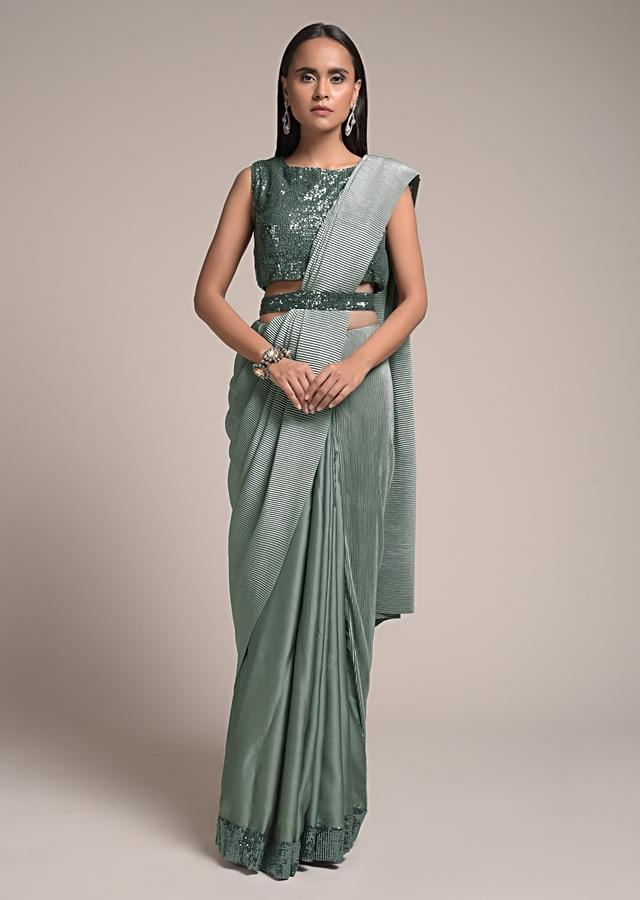 Silver Grey Half And Half Saree In Satin Silk With Sequins Border And Crushed Pallu Online - Kalki Fashion