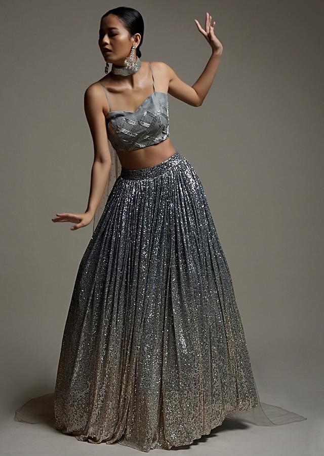 Silver Grey Ombre Skirt In Sequins Fabric And Cut Dana Embellished Crop Top With Online - Kalki Fashion