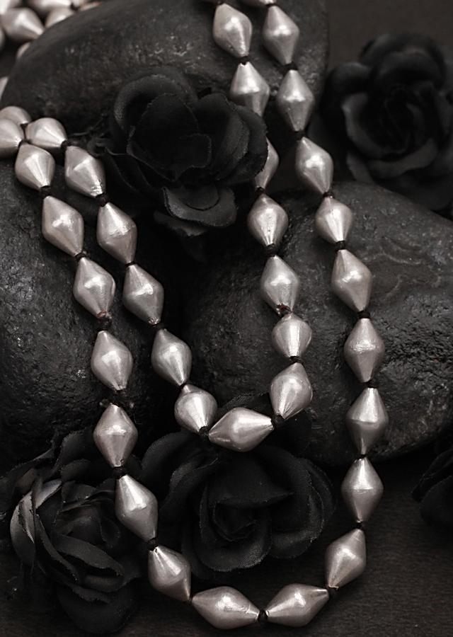Silver Layered Necklace Adorned With Beads Made In Sterling Silver By Sangeeta Boochra
