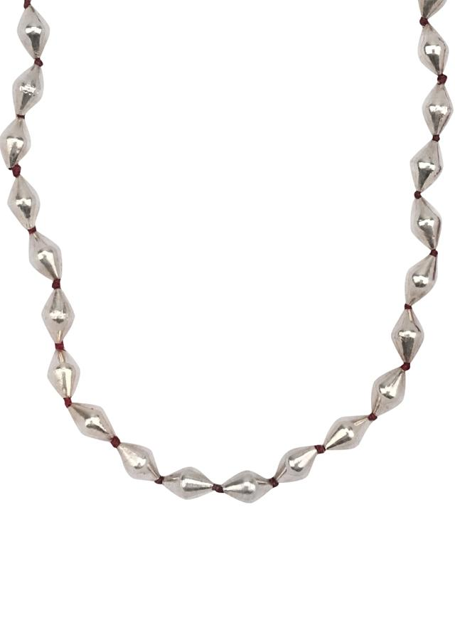 Silver Long Necklace Adorned With Beads And Maroon Thread Made In Sterling Silver By Sangeeta Boochra