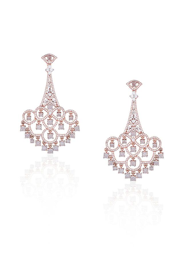 Silver Plated Contemporary Earrings Studded With Faux Diamonds By Aster