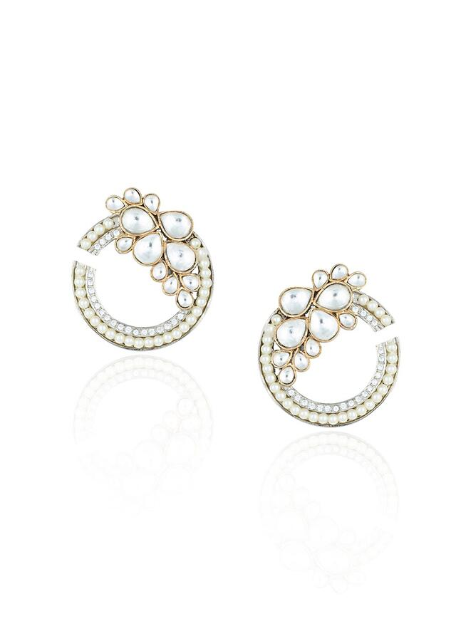 Silver Plated Designer Earrings Studded With Kundan And Pearls In Modern Round Design By Aster