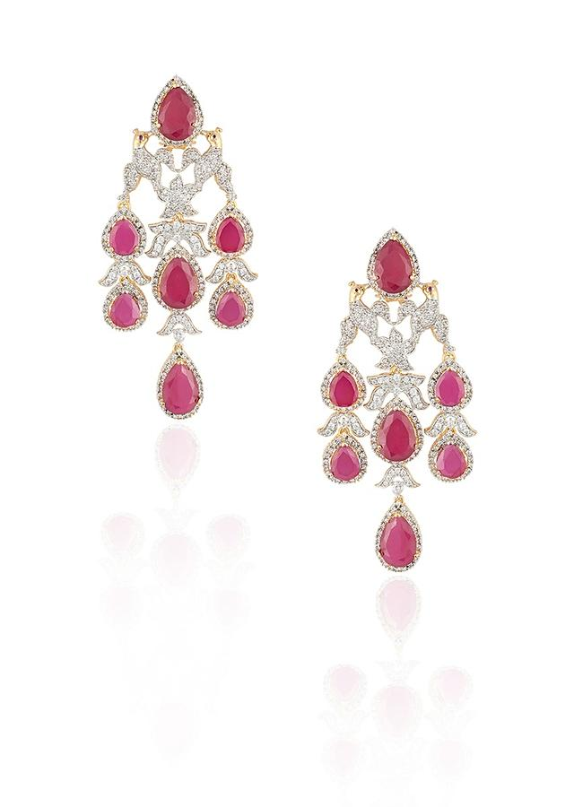 Silver Plated Earrings In Bird Motif With Faux Ruby And Zircon Stones By Aster