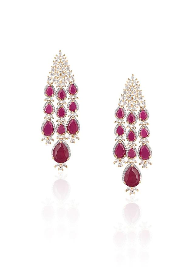 Silver Plated Earrings With Faux Diamonds And Ruby Stones In Modern Design By Aster